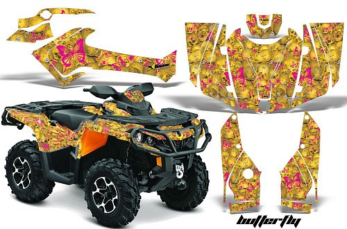 AMR Racing Buttefly/PinkDesign/YellowBackgr - комплект наклеек для BRP Can-Am Outlander 2012-